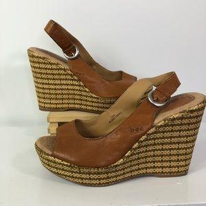 Boc sling back open toe wedge sandals wicker Sz 10